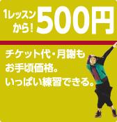1レッスン500円から
